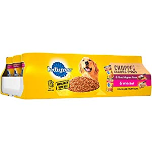 Pedigree Chopped Ground Dinner Filet Mignon Flavor & With Beef Adult Canned Wet Dog Food Variety Pack, (12) 13.2 Oz. Cans 9