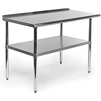 gridmann stainless steel commercial kitchen prep work table with backsplash 48 x 24 inches. beautiful ideas. Home Design Ideas