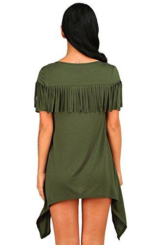 Casuale Base Manica Dell'esercito Corta Tunica Donne Maglietta Irregolare Vestito Verde Delle Allentata Aecibzo nwAEdxYRqw