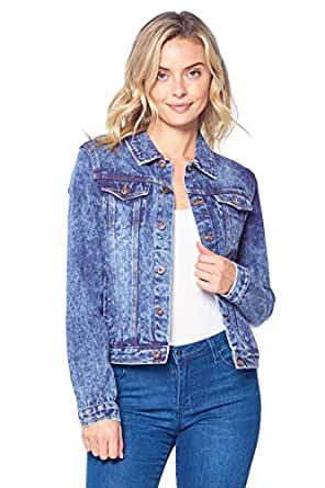 Blue Age Womens Denim Jean Jacket and Sleeveless Vest - Blue - Small
