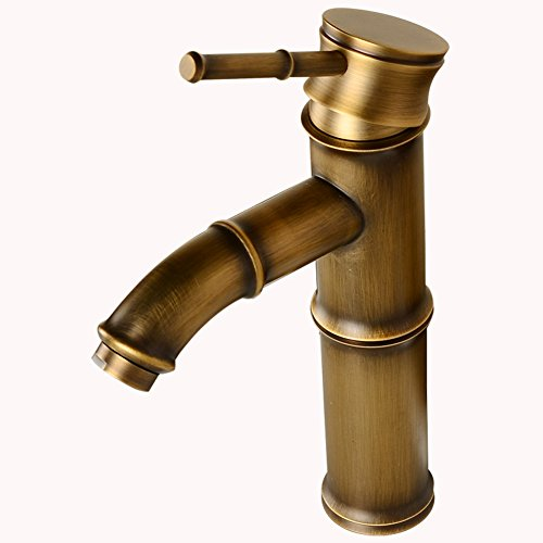 Bamboo Sink Bath Vessel (BAIANLE Antique Brass Finish Bathroom Vessel Sink Faucet - Bamboo Shape Design Bath Tap Mixer (Antique 2))
