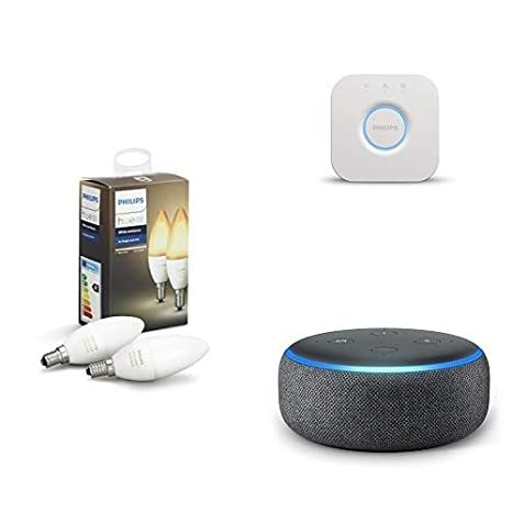 Echo Dot gris antracita + Philips Hue White Ambiance - Pack de 2 bombillas LED E14