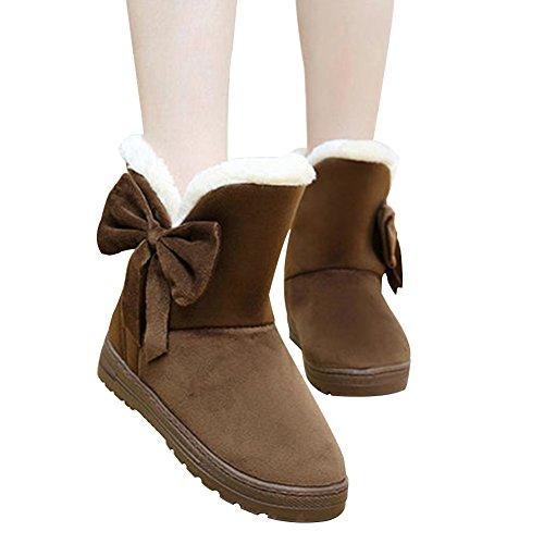 Temofon Women Winter Fur Ankle Snow Boots Round Toe Casual Warm Shoes Flats Coffee GrxdqFLT