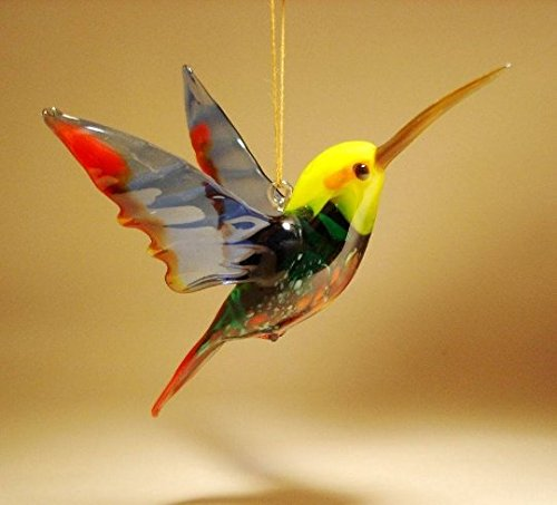 Red, Blue and Yellow Glass Bird Hanging Hummingbird Figurine Ornament - Glass Bird Figurine