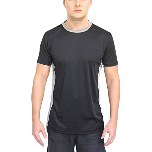 Mens UV Rashguard Swim Shirt Short Sleeves UPF 50+ Anti-Microbial Sunburn Protection No Fading