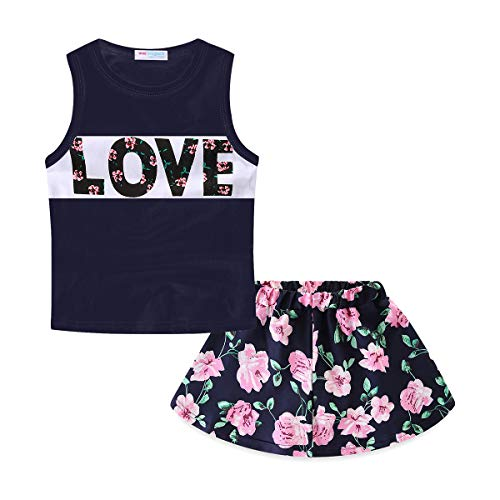 Mud Kingdom Toddler Girl Skirt Clothes Outfit Black Love Summer 4T -