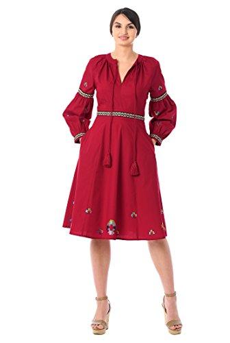 eShakti Women's Embellished Graphic Cotton Cambric Tassel Dress L-12 Regular Red Multi -