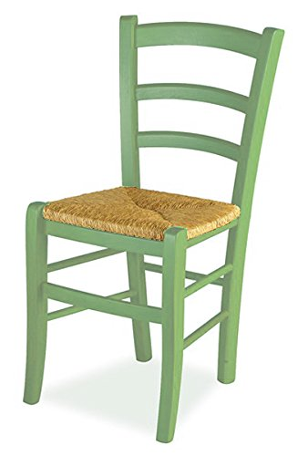 Sedie Paglia Usate.Mobili Ilar Set 2 Sedie Venezia Anilina Verde 105 Sedile Paglia