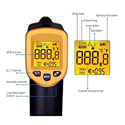 58?~ 932? Non-Contact Digital Infrared Thermometer (-50? ~ 500?) for Temperature Probe Cooking Air Refrigerator