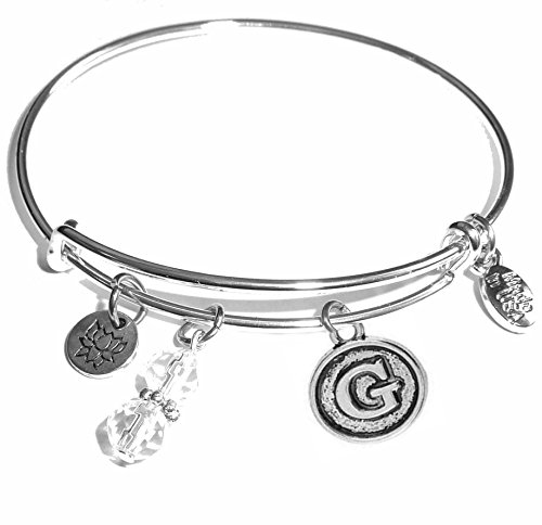 Initial Expandable Wire Bangle Bracelet, in the popular Style, Comes in a GIFT BOX!! - Popular Styles