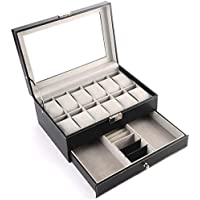 PU Leather Double Layer 12PCS Jewelry Watch Bracelet Storage Box with Glass Plate Window