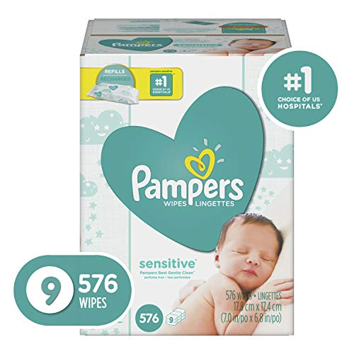 Pampers Sensitive Water-Based Baby Diaper Wipes, 9 Refill Packs for Dispenser Tub – Hypoallergenic and Unscented – 576 Count