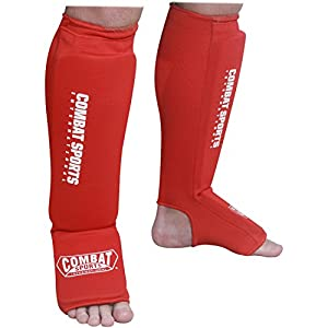 Combat Sports Washable MMA Elastic Cloth Shin & Instep Padded Muay Thai Kickboxing Protective Training Sparring Shin Guards