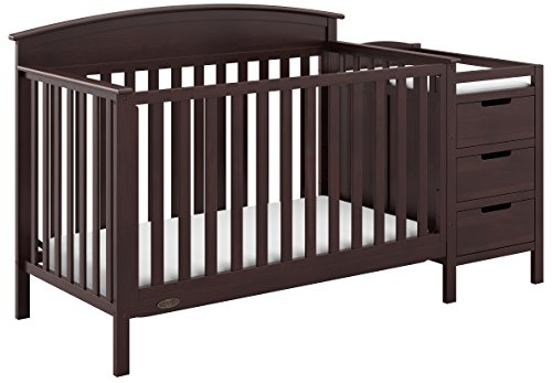 3 Open Storage - Graco Benton 4-in-1 Convertible Crib and Changer (Espresso) - Attached Changing Table with Water-Resistant Changing Pad, Space-Saving Storage with 3 Drawers and 3 Open Shelves