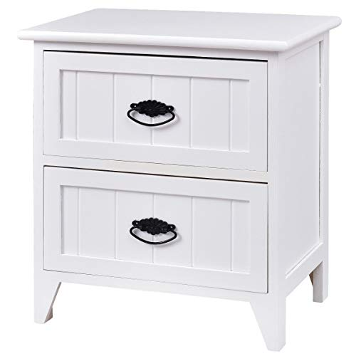 Giantex Nightstand Wooden Sofa Beside Table W/ 2 Drawers for Living Room Bedroom Side Storage Cabinet End Table (1, White) ()