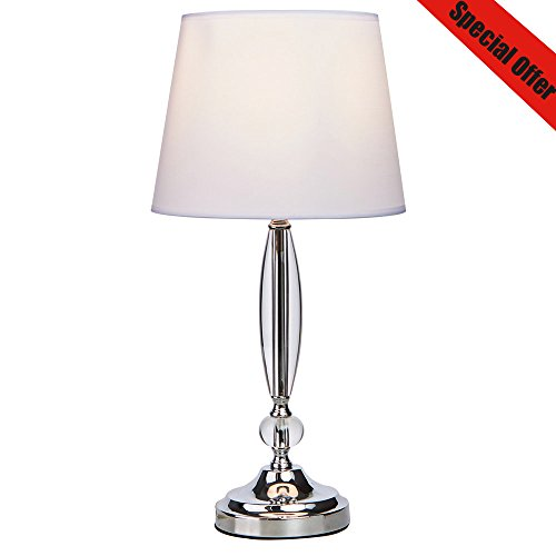 - SOTTAE Modern Fashionable Clear Crystal Base Bedroom Living Room Bedside Table Lamp, Desk Lamp With White Fabric Shade