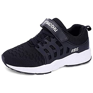 WYSBAOSHU Trainers of Unisex Kids Lightweight Sneaker for Running Ball Sports Black