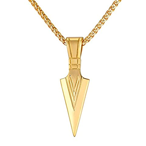 Men Rock Hip Hop Jewelry Stainless Steel Cool Spear Point Arrowhead Pendant Necklace (18k gold (Necklace For Men Cool)