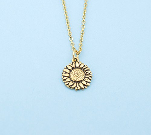 Sunflower necklace in gold plated pewter on an 18 gold plated cable chain. Sunflower necklace. Sunflower charm. Sunflower.