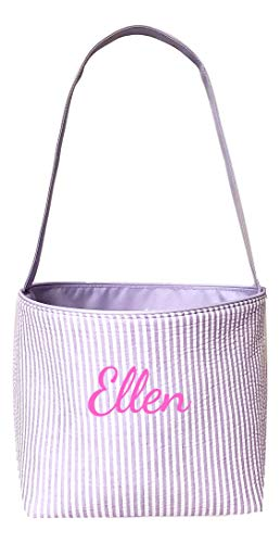 Seersucker Medium Fabric Easter Basket Bucket Tote Bag (Purple - Embroidered Name)