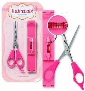 Healthcom Haircutting Tool Kit Professional Front Bangs Cutting And Trimming Tools DIY Hairstyling Salon Bangs Cut Kit,1 Set(Pink) by Healthcom (Image #1)