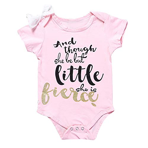 Sameno Newborn Infant Baby Girls Short Sleeve Jumpsuit Letter Print Romper Clothes Outfits (Pink, 0-3 Months) -