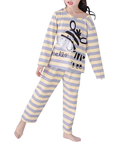 MyFav Girls' Colorful Striped Nightwear Lovely Horse Cartoon Pajamas Sleepwear by MyFav