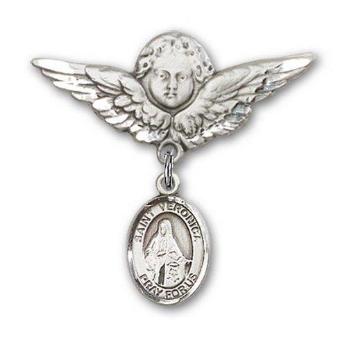 Icecarats Créatrice De Bijoux En Argent Sterling St. Veronica Charme Ange Broche De Badge 1 1/8 X 1 1/8