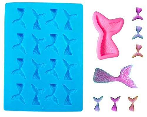 LEGACY HOUSEHOLD Set of 2 Mermaid Tail Silicone Molds for Fondant, Cake Decoration, Ice, Jello, Candy, Chocolate, Soap, Arts and Crafts, Baking, and Cupcake Topper