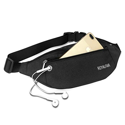 ROYALFAIR Fanny Pack for Men or Women with 4 Zipper Pockets Fashion Waist Pack Adjustable Strap (Black)