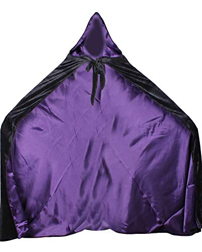 (LuckyMjmy Velvet Renaissance Medieval Cloak Cape lined with Satin (Medium, Black-Purple))