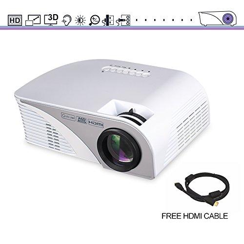 iRULU HD Home Theater Projector, iRULU 60 LED HD 1080P USB HDMI ATV AV VGA Max 120'' Big Screen Video Projector For Party, Back Yard Movie, Games - White by iRULU