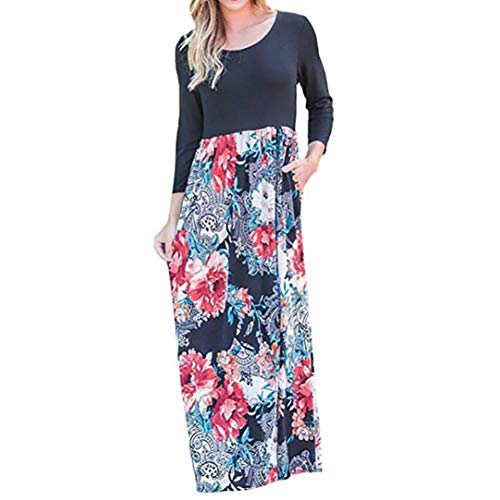 Todaies Women Dress Women Floral Print Long Sleeve Dress High Waist Boho Long Maxi Dress with Pockets (XL, Multicolor)
