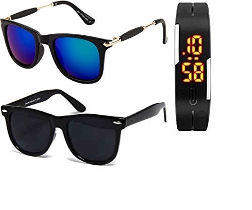 d6b5a9fe269 Sheomy Golden Frame Black Glass Aviator   Full Black Wayfarer Unisex  Sunglasses (55