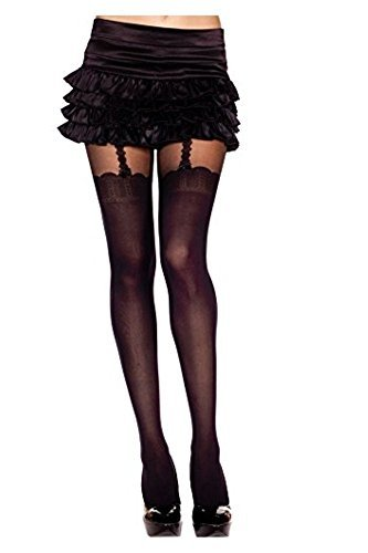 MUSIC LEGS Women's Faux Thigh Hi and Suspender Set Design Spandex Pantyhose, Black, One Size from Music Legs