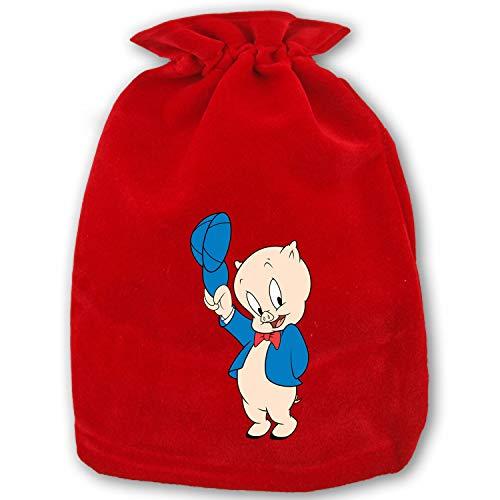 Christmas Drawstring Gift Bags, Santa Sack Bag for Party (Porky Pig)