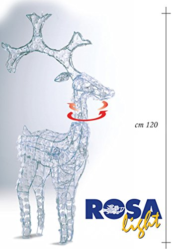 Renna Luminosa con decori Diamond e movimento oscillante della testa H.120CM. 185LED+15LED Flash Bianco Ghiaccio