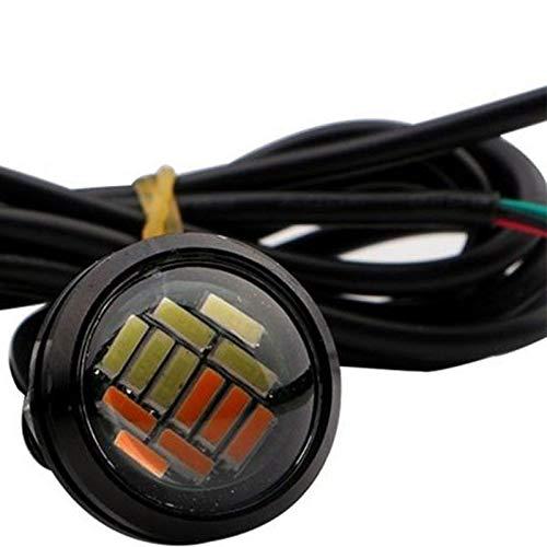 TOOGOO 4 Piezas Coche 12V 23Mm Dual Color Switchback 4014 12 Led Drl Luz Diurna De Ojo De /águila