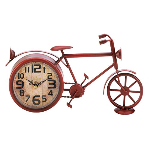 Aspen Tree Bike Desk Clock Red Retro Vintage Bicycle Cast Iron Mantle Desktop Décor for Home Livingroom & Office Antique Style Novelty Collectible Gift