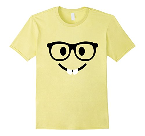 Nerd Costume Ideas For Couples (Mens Nerd Face With Buck Teeth Emoji T Shirt Costume 2XL Lemon)
