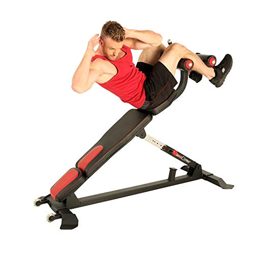 Fitness Reality Gym Commercial Grade High Capacity (650lbs) Sit Up/Ab Bench with Air Piston Angle Adjustment