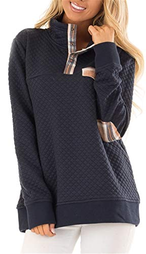 BOCOTUBE Womens Button Neck Quilted Pullover Sweatshirts Patchwork Elbow Patches Tops Outwear