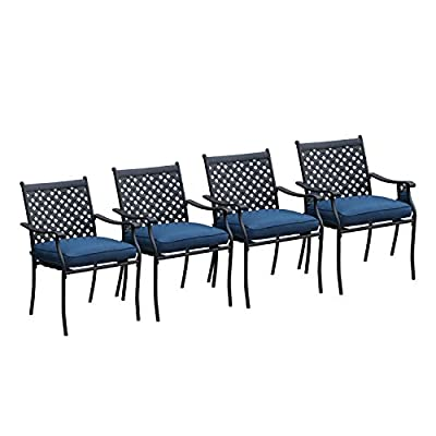 LOKATSE HOME 4 Piece Outdoor Patio Metal Wrought Iron Dining Chair Set with Arms and Seat Cushions - Blue - 【Durable materials Particularly materials of the patio Dining chairs' Seat cushions such as olefin fabric and outdoor dining chair's materials such as wrought iron that 4 pieces outdoor Dining Chair Set has long-term durability. 【Diamond mesh Lattice design our outdoor Dining Iron chairs are designed with rhombic-shaped grid back. Diamond mesh Lattice design adds a dash of elegance for this patio Dining set. 【Armrest and seat rest equipped with armrests and seat cushions, the patio Dining furniture is perfect for you to relax and feel comfortable. - patio-furniture, patio-chairs, patio - 41Zqn9OviBL. SS400  -