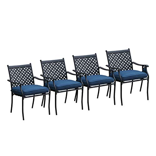 LOKATSE HOME 4 Piece Outdoor Patio Metal Wrought Iron Dining Chair Set with Arms and Seat Cushions, Blue
