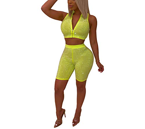 ShelbiDamon Women's Outfits Jumpsuit Sexy Rhinestone Bodycon Deep V Neck Zipper Shorts Clubwear
