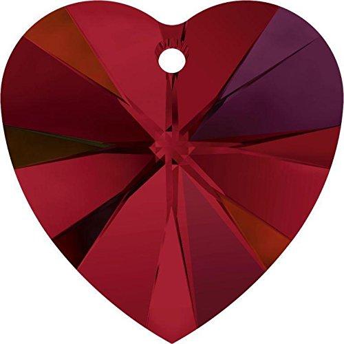 6228 Swarovski Pendant Xilion Heart Siam AB | 14mm - Pack of 2 | Small & Wholesale ()
