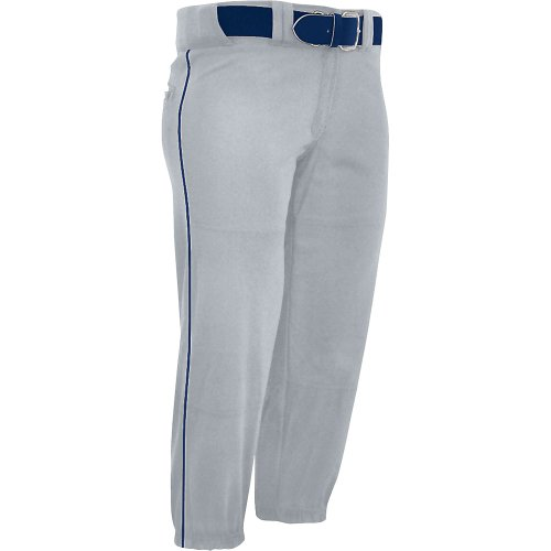 Champro Women's Sports Performance Pants with Piping, Grey/Navy Pipe, (Capri Low Rise Jersey)