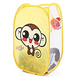 SymCool - Super Cute - Foldable Pop Up Hamper, Laundry Basket or Toy Chest for Storage - Cartoon Theme - Brown Monkey (Yellow)
