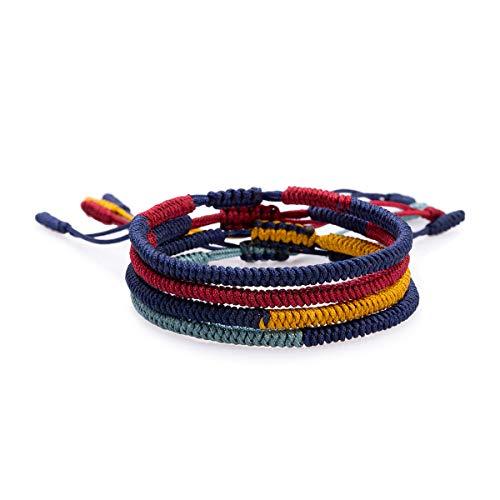 Yo-ike Tibetan Buddhist Woven Bracelets Mens Womens Lucky Red String Bracelets for Protection (E)]()