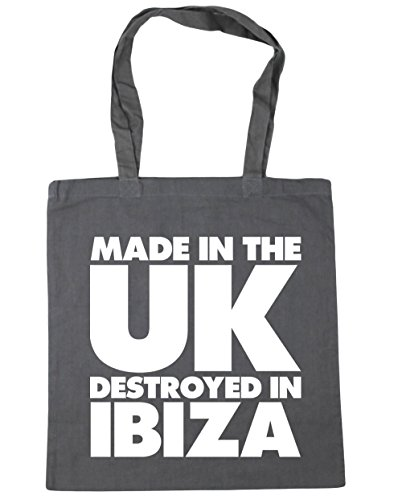 Bag Beach in Tote Ibiza 10 UK Gym Made the Grey Shopping Destroyed in HippoWarehouse Graphite litres x38cm 42cm FRBAqwn